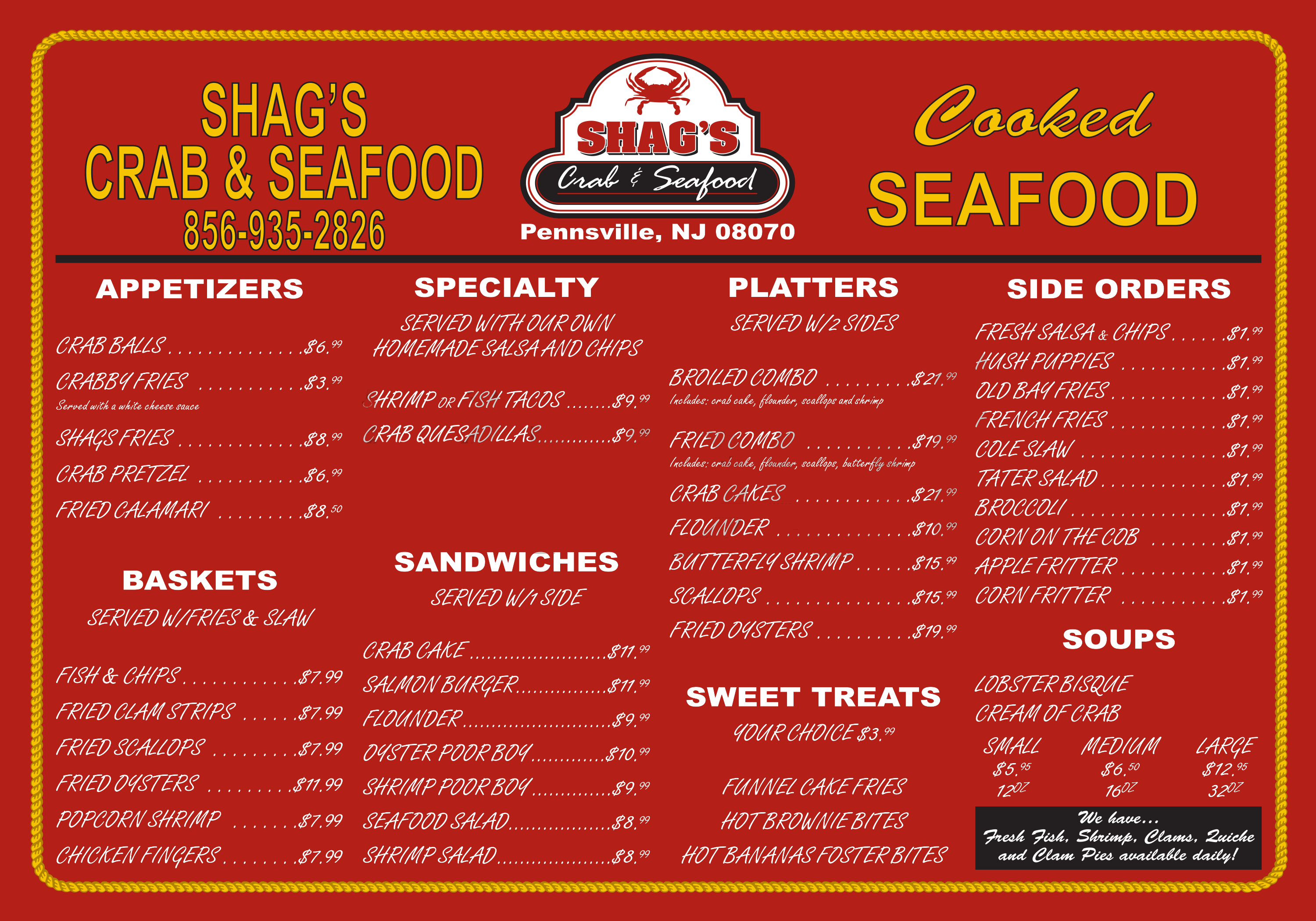 Shags menu large
